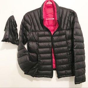 Goose Down Packable Bernardo Black And Pink Coat